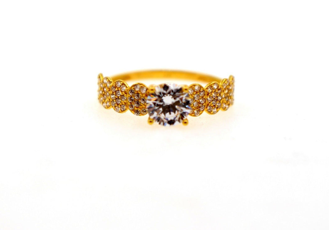 22k 22ct Solid Gold DIAMOND CUT LADIES RING SIZE 6.5' RESIZABLE