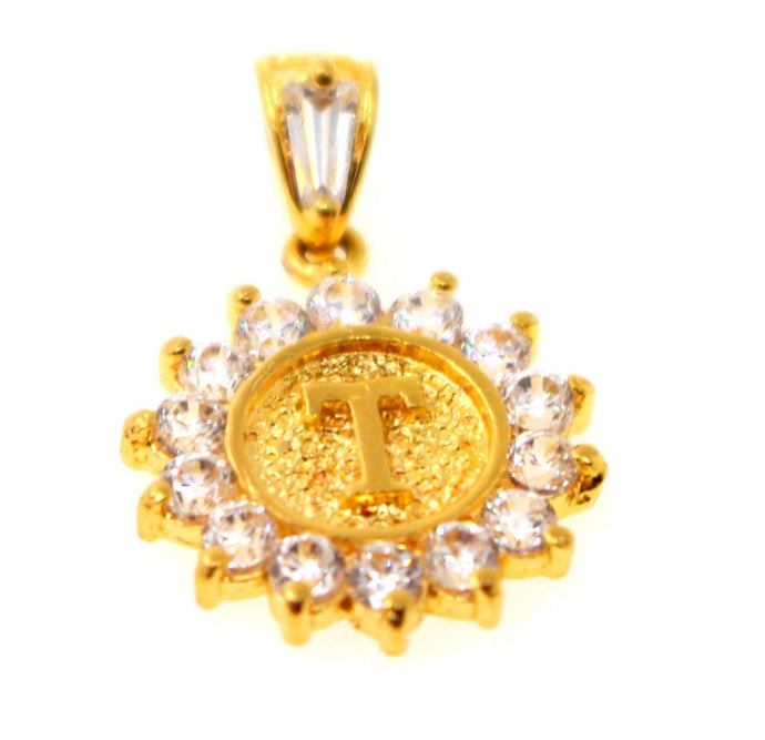 22k 22ct Solid Gold Round Shape Pendent T letter with Stone alphabet p1337