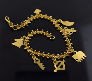22k 22ct Solid Gold ELEGANT CHARM Bracelet with box length 6.7 Inch Cb52 - Royal Dubai Jewellers