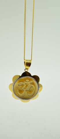 22k 22ct Solid Gold Round Hindu Religious OM AUM OHM pendant charm p230