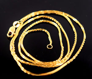 22k Yellow Solid Gold Chain Rope Design Necklace 1.0 mm Modern Design c253