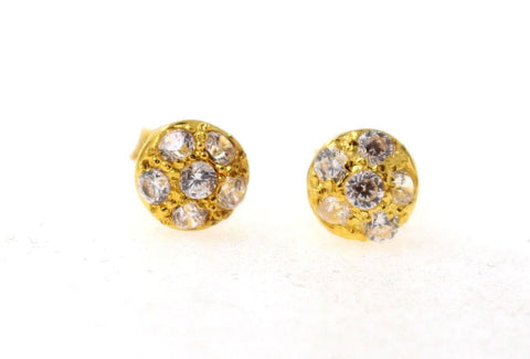 22k Jewelry Solid Gold ELEGANT Charm Earrings Round Stone Design e5143