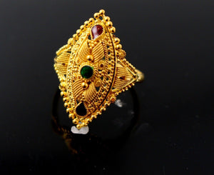 "22k 22ct Solid Gold DIAMOND CUT ANTIQUE LADIES RING SIZE 7.5' RESIZABLE"" R1619"