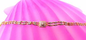 22k 22ct Solid Gold ELEGANT Ladies ZIRCONIA RHODIUM Bracelet Two Tone B672
