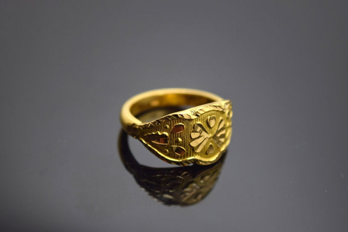 22k Solid Gold ELEGANT Ring BAND Flower Design