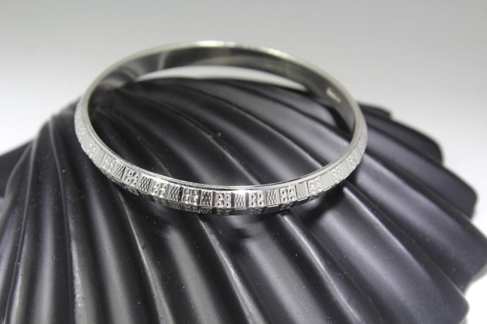 1PC HANDMADE women b107 Solid Sterling Silver 925 size 2.5 inch kara Bangle
