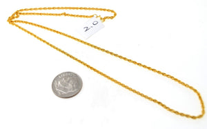 22k 22ct Yellow Solid Gold GORGEOUS THIN TWISTED HOLLOW CHAIN NECKLACE c217