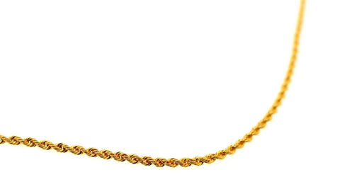 22k 22ct Yellow Solid Gold Chain Rope Necklace Design 2.6mm 16 inch c876