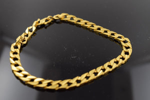 22k 22ct Solid Gold ELEGANT Bracelet Curb Design length 9 Inch p380