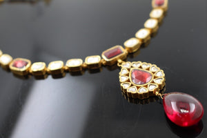 22k 22ct Solid Gold Elegant Traditional Kundan Set Necklace with STONE KS104