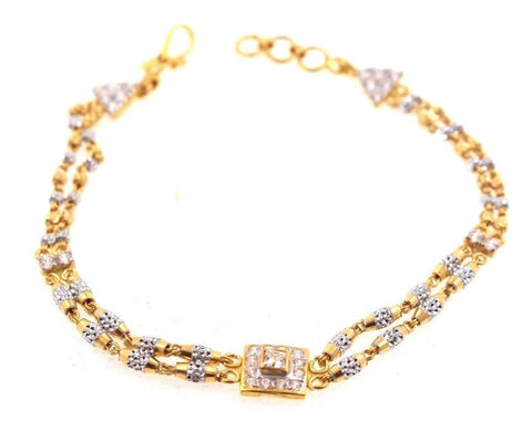 22k 22ct Solid Gold ELEGANT Ladies ZIRCONIA RHODIUM Bracelet Two Tone B672 | Royal Dubai Jewellers