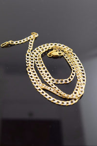 22k Yellow Solid Gold Chain Rope Necklace 1 mm c42 with white diamond cut box