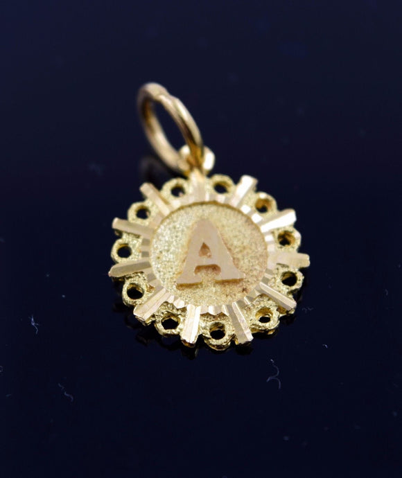 22k Solid Gold Round Shape Pendent A letter p309 | Royal Dubai Jewellers