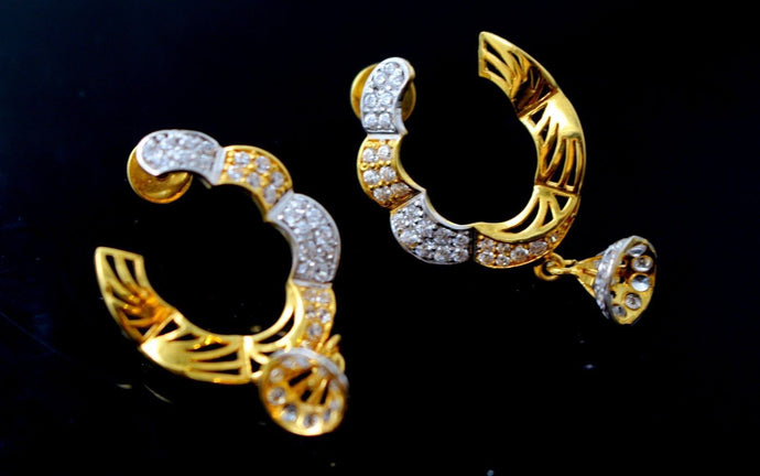 22k 22ct Solid Gold ELEGANT EARRINGS LONG DANGLING Hoop Stone Design E5322