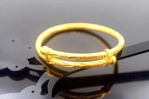 22k Jewelry Solid Gold ELEGANT PLAIN BABY CHILDREN BANGLE BRACELET cb331