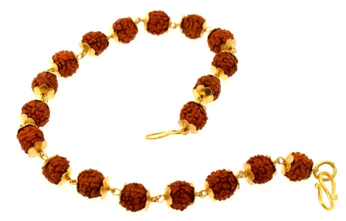 22k 22ct Solid Gold NATURAL 5 Mukhi Rudraksha BRACELET B786