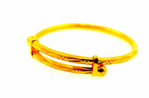 22k Jewelry Solid Gold ELEGANT PLAIN BABY CHILDREN BANGLE BRACELET cb331 | Royal Dubai Jewellers