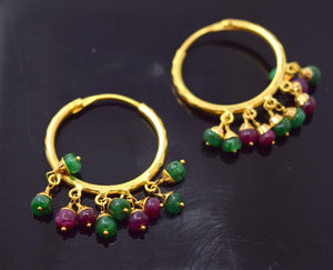 22k Jewelry Solid Gold ELEGANT EARRINGS ANTIQUE Ruby Emerald DESIGN E1363