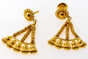 22k 22ct Solid Gold ELEGANT long unique style DANGLING Earring e5869