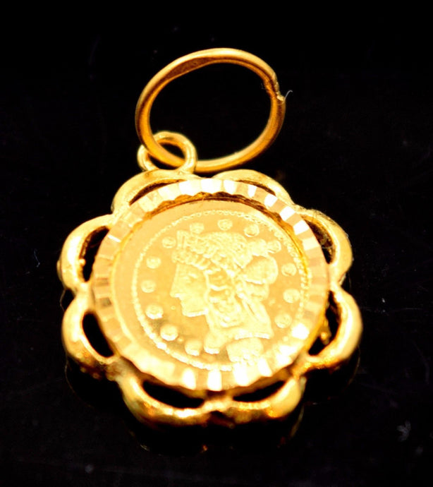22k Solid Gold ELEGANT QUEEN EAGLE MEDAL ROUND pendant locket CHARM P458