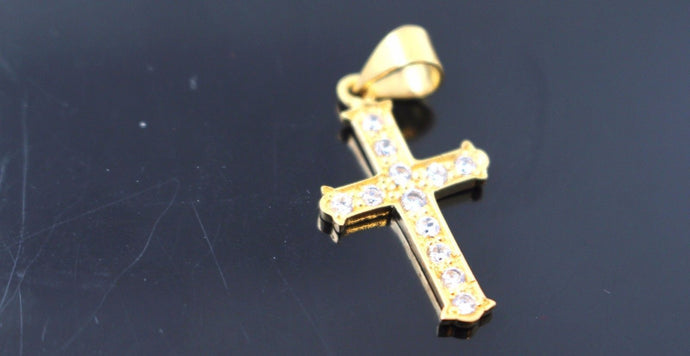 22k 22ct Solid Gold Christian Cross Stone Pendant Charm Locket p748