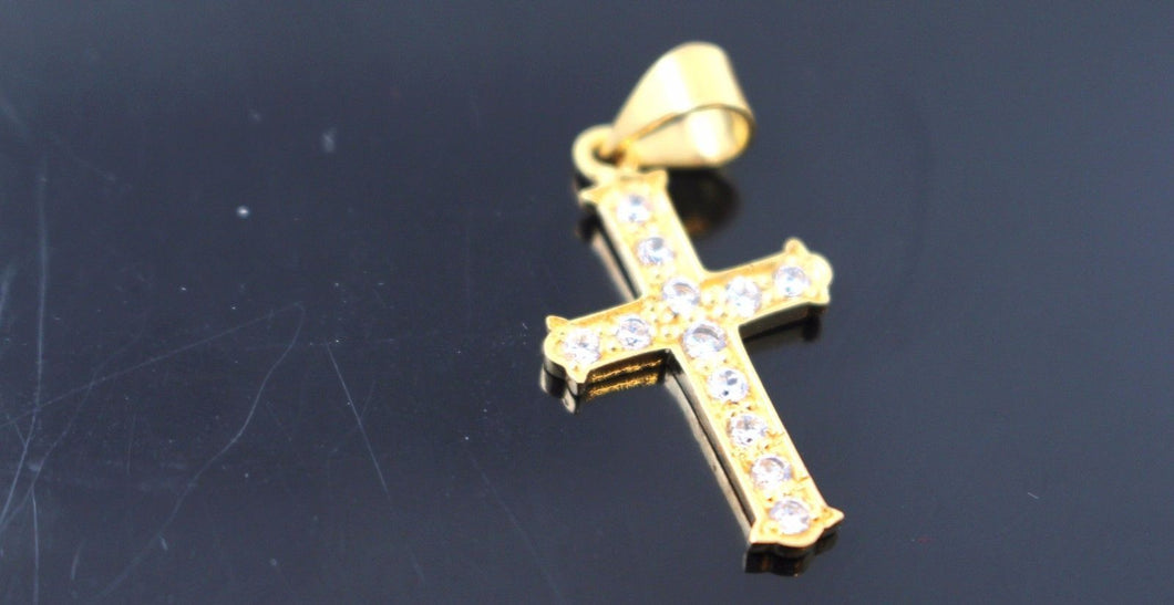 22k 22ct Solid Gold Christian Cross Stone Pendant Charm Locket p748 | Royal Dubai Jewellers