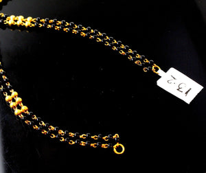 22k 22ct Gold Yellow BLACK beads STONE 2 layer CHAIN ADJUST LENGHT c0001