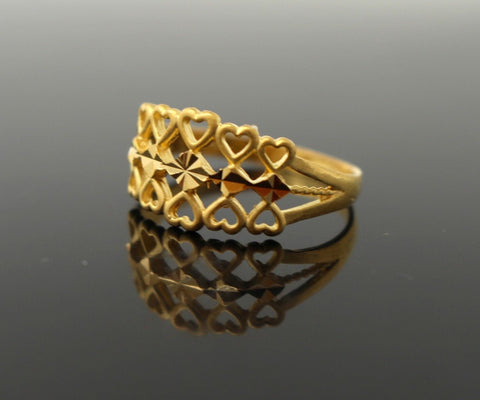 22k 22ct Solid Gold artistic modern little heart shapes women ring band R1354 | Royal Dubai Jewellers