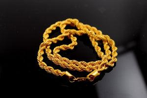 22k Yellow Solid Gold Chain Rope Necklace 4.3mm Modern Design mf