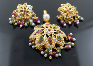 22k Solid Gold ELEGANT PEARL EMERALD Ruby Pendant Set Antique Design S66