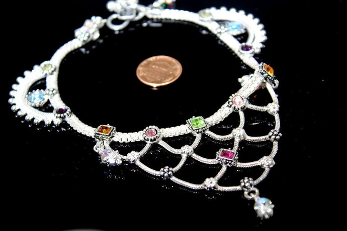 2PC HANDMADE Solid Silver Payal 925 sbb79 Sterling adult ladies Anklets | Royal Dubai Jewellers