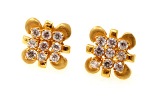 22k 22ct Solid Gold ELEGANT FLOWER DESIGNER DANGLING Earring e5894 | Royal Dubai Jewellers