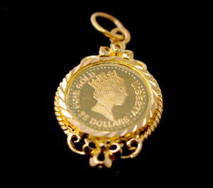 22k 22ct Solid Gold ELEGANT GINNY COIN LOCKET Pendant P1640