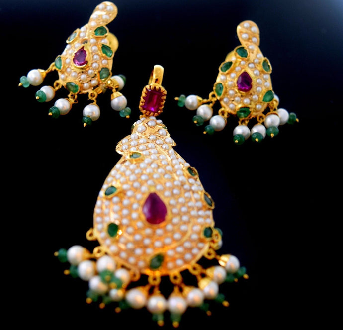 22k 22ct Solid Gold ELEGANT PEARL RUBY EMERALD STONE PENDANT SET EARRING s114