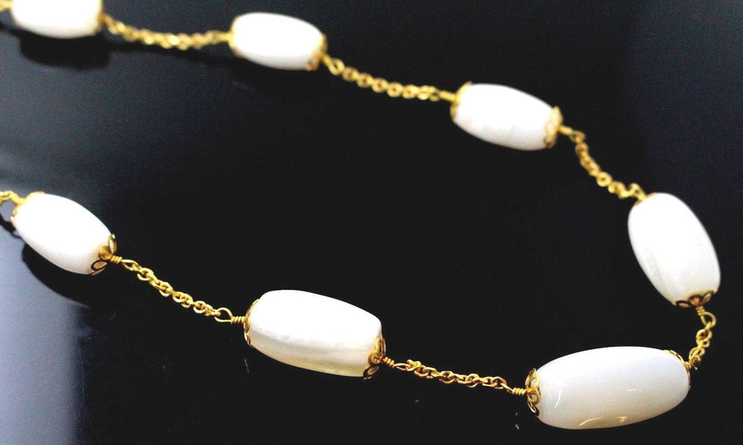 22k 22ct Chain Yellow Solid GORGEOUS MOON STONE Necklace Unique 20 inch c874 | Royal Dubai Jewellers