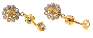22k 22ct Solid Gold ELEGANT FLOWER DESIGNER DANGLING Earring e5892