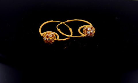 22k Solid Gold ELEGANT LARGE HOOP EARRINGS MODERN DESIGN E727
