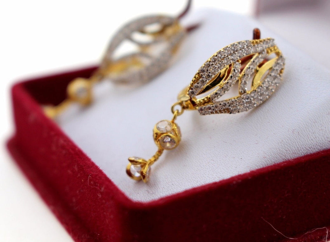 22k Jewelry Solid Gold ELEGANT CLIP-ON STONE EARRINGS Unique Design e2121 | Royal Dubai Jewellers