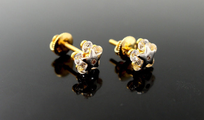 22k 22ct Solid Gold FINE CUBIC ZIRCONIA RHODIUM STAR SHAPE EARRINGS STUDS E5468 | Royal Dubai Jewellers
