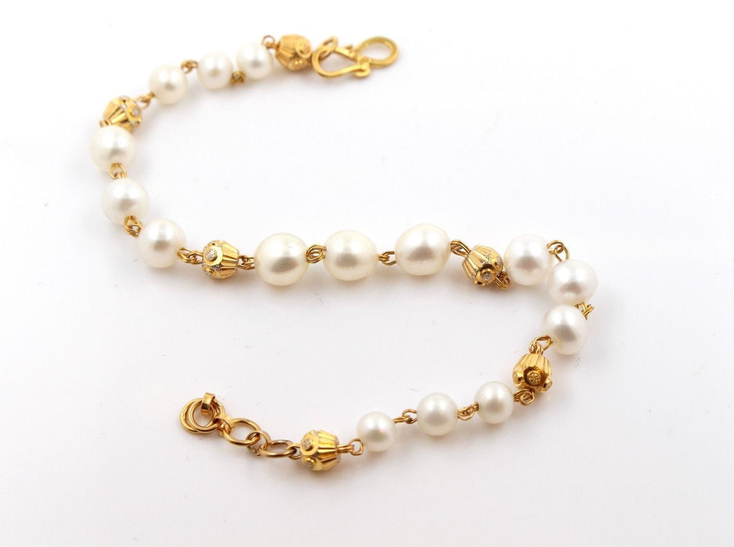 22k 22ct Jewelry Solid Gold ELEGANT NATURAL PEARL LADIES Bracelet Size 7in B782 - Royal Dubai Jewellers
