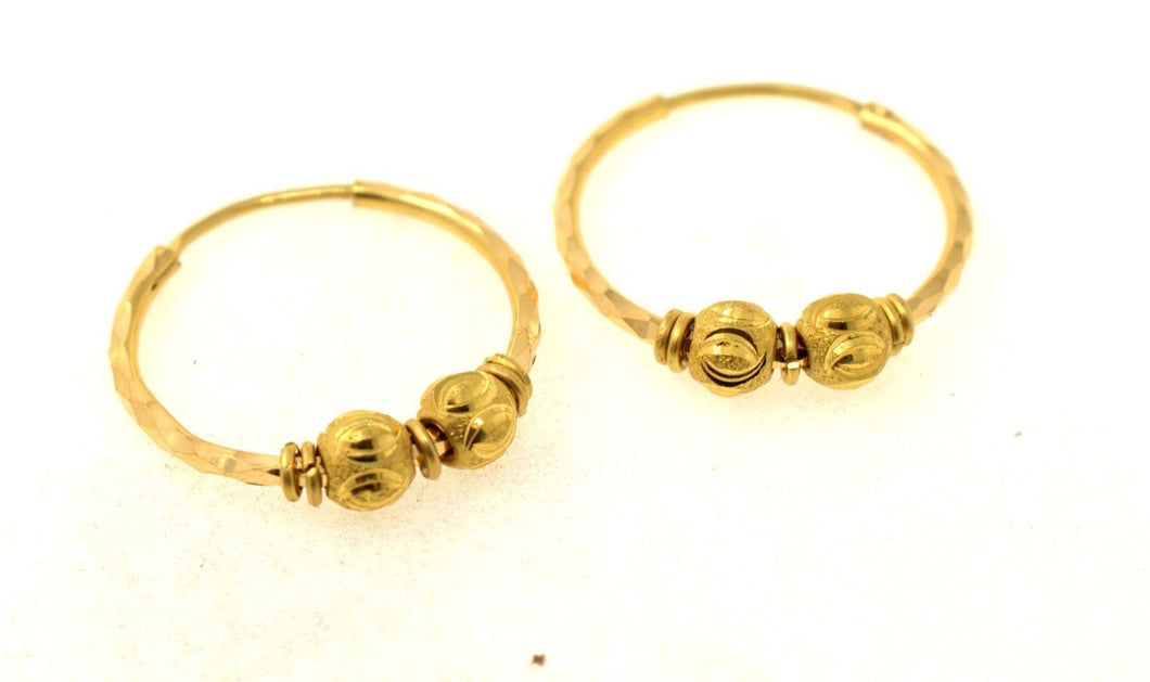 22k 22ct Solid Gold ELEGANT MEDIUM BALL Hoops Earring Modern Design e5422