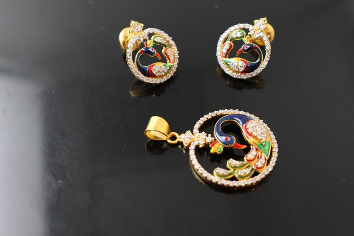 22k 22ct Solid Gold Elegant Peacock Enamel Design Pendant Set p911 | Royal Dubai Jewellers