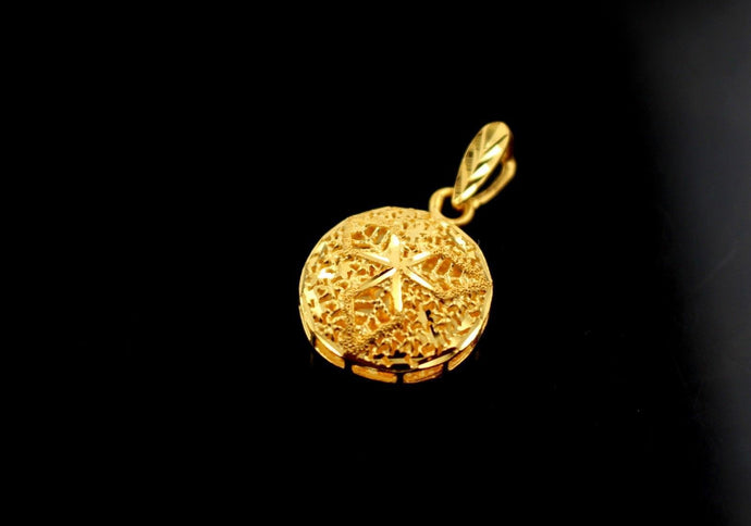 22k 22ct Solid Gold GORGEOUS ROUND 3D FLOWER SHAPE FILGREE Pendant Locket p855 | Royal Dubai Jewellers