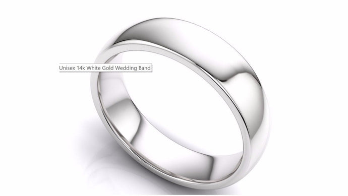 14k Solid Gold 5mm Comfort Fit Wedding Flat Band in 14k White Gold