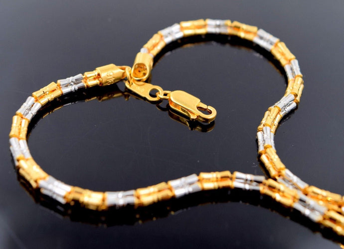 22k Chain Yellow Solid Gold Rope Necklace Simple Two Tone Design 3.33mm c571 | Royal Dubai Jewellers