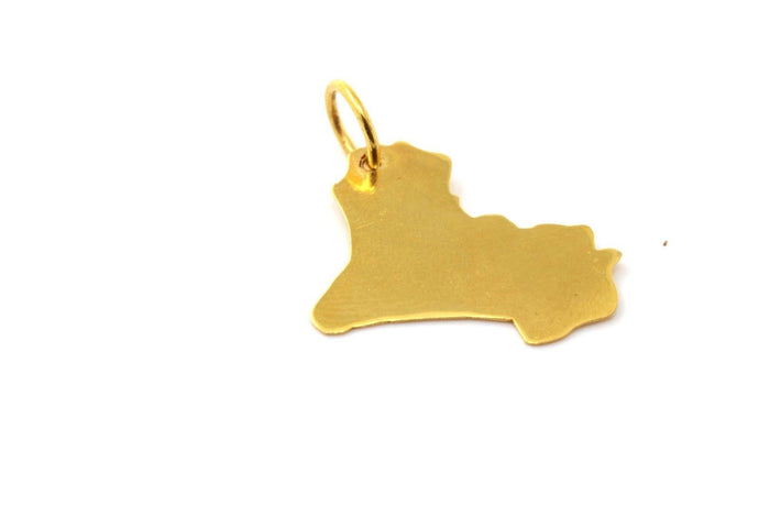 22k 22ct Solid Gold Elegant IRAQ IRAQI MAP SHAPE Pendant locket p958