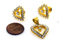 22k Solid Gold ELEGANT STONE HEART Pendant Set Modern Design S51 | Royal Dubai Jewellers