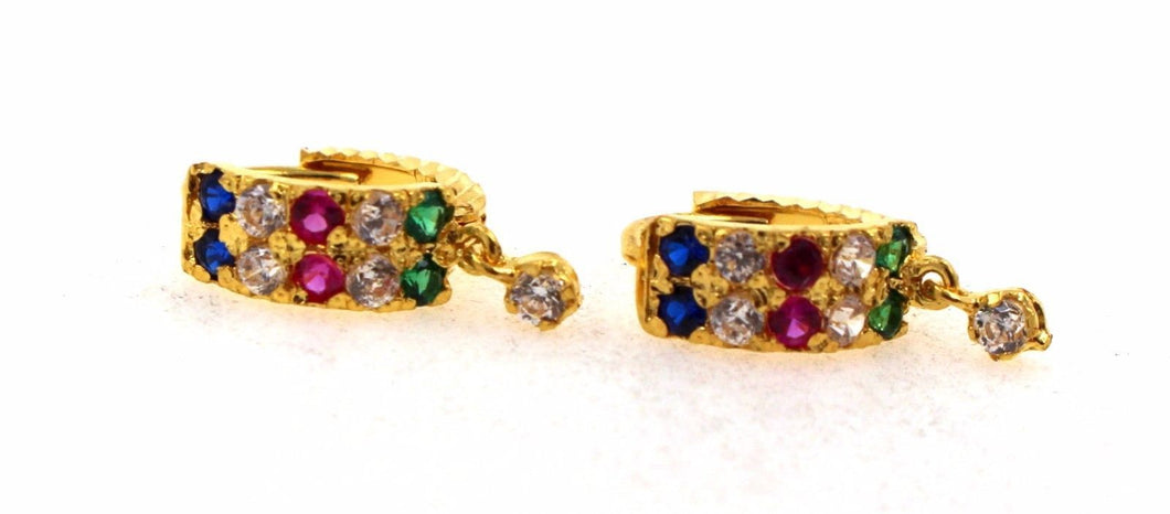 22k 22ct Solid Gold ELEGANT ZIRCONIA CLIP ONS RUBY STONE Earring e5239 | Royal Dubai Jewellers