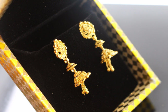 22k 22ct Solid Gold ELEGANT EARRINGS Floral Dangle Design E5064