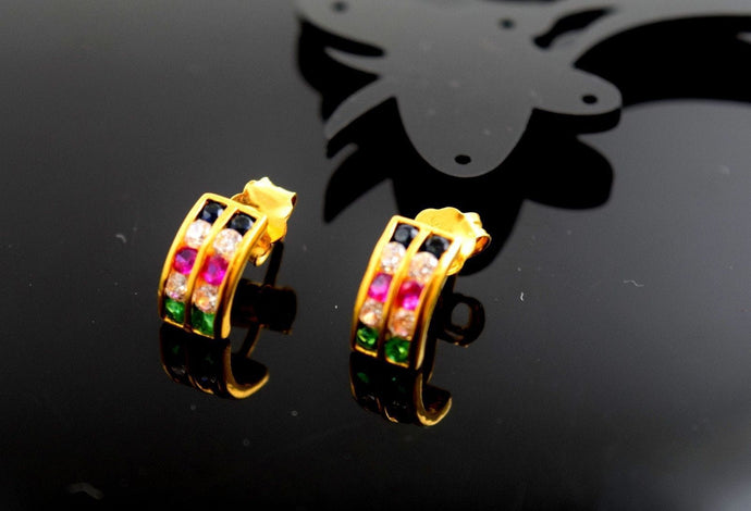 22k Solid Gold ELEGANT TRI-STONE STUD PUSH BACK EARRINGS Modern Design E735